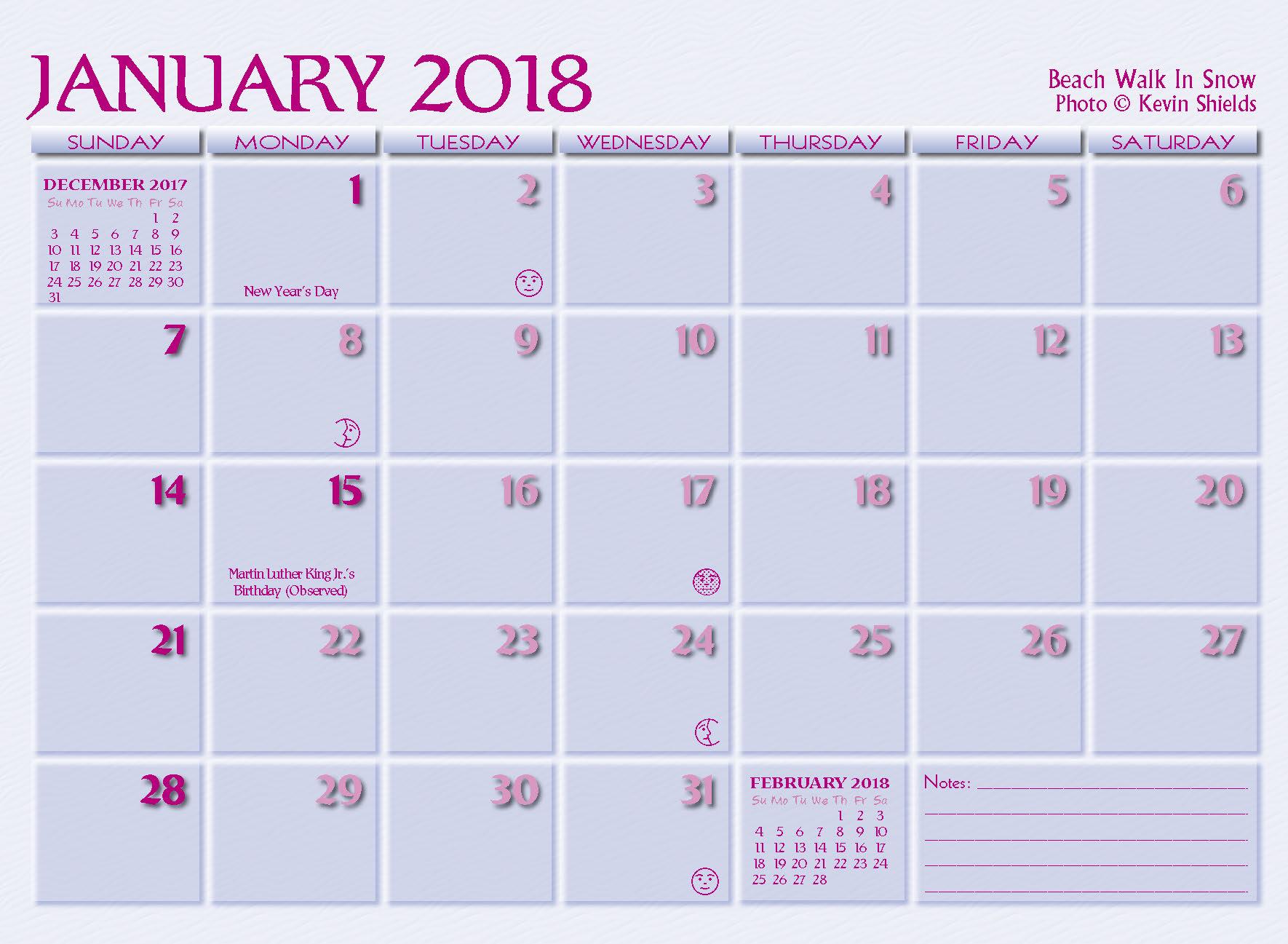 january 2018 calendar pink   Yeni.mescale.co